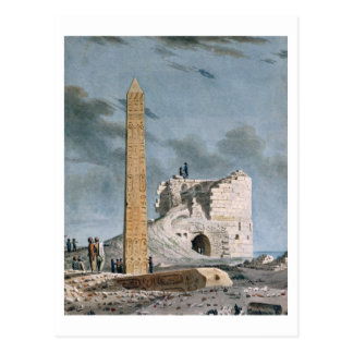 Obelisco de Cleopatra (w/c en el papel) Postal
