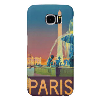Obelisco de la fuente de la noche de París Francia Fundas Samsung Galaxy S6