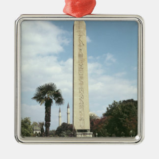 Obelisk of Theodosius I, with a Roman base Square Metal Christmas Ornament