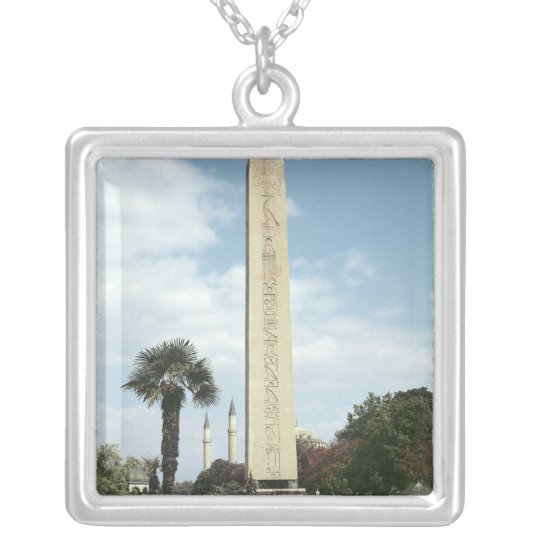 Obelisk of Theodosius I, with a Roman base Silver Plated Necklace