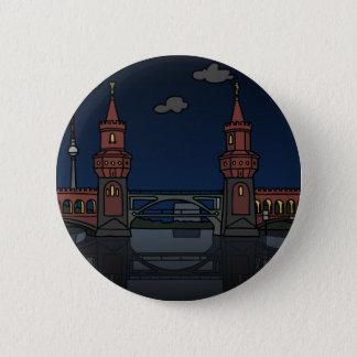 Oberbaum Bridge Berlin at night Pinback Button