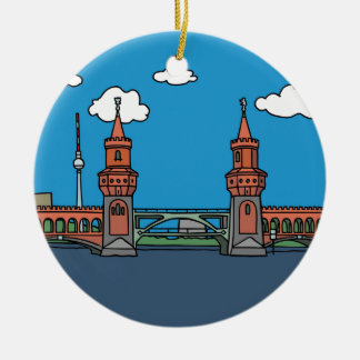 Oberbaum Bridge in Berlin Ceramic Ornament
