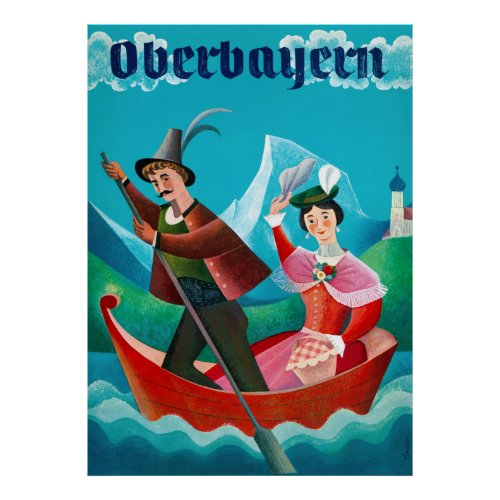 Oberbayern Germany Vintage Travel Poster Restored
