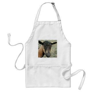 Oberhasli brown goat head shot in color adult apron