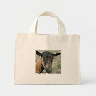 Oberhasli brown goat head shot in color mini tote bag