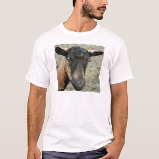Oberhasli brown goat head shot in color T-Shirt