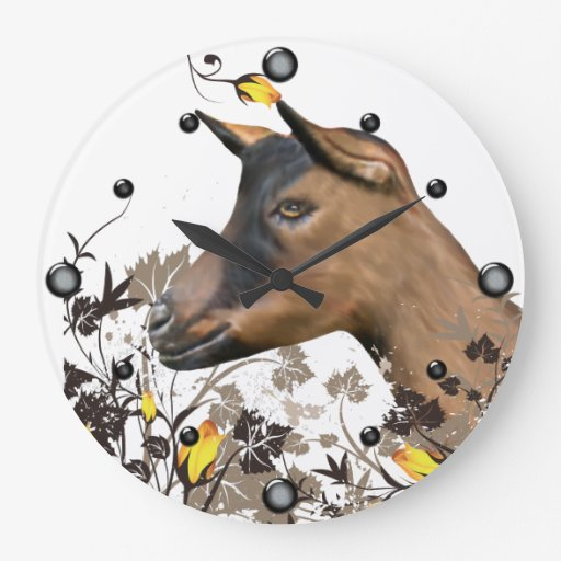 Oberhasli Dairy Goat Painting Floral  Wall Clock