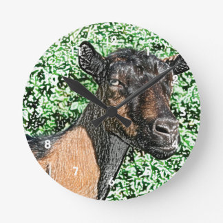 oberhasli doe goat animal image round clock