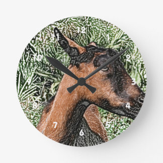 oberhasli doe goat sketch round clock
