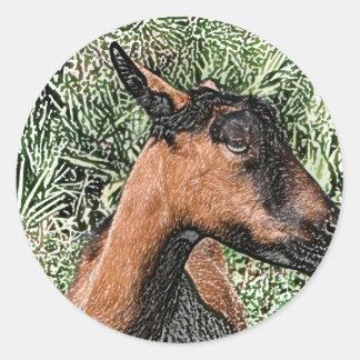 oberhasli doe goat sketch round stickers