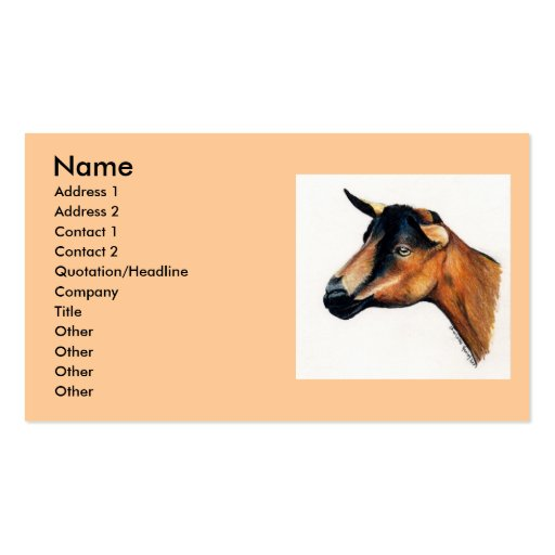"""Oberhasli Goat"" Animal Art Business Card"