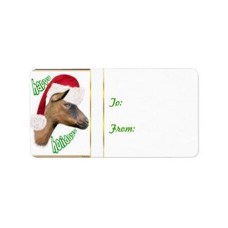 Oberhasli Goat  Christmas Gift Tag Sticker Label