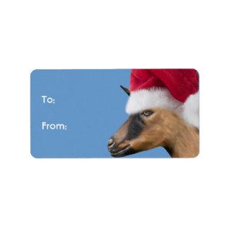 Oberhasli Goat  Santa Goat Christmas Gift Tag Label