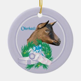 Oberhasli Goat Wreath Holiday Ornament