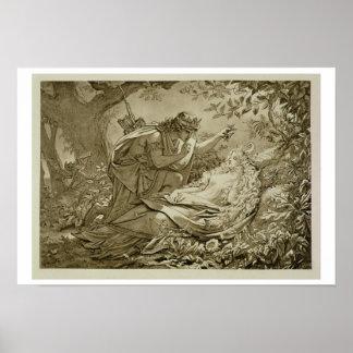 Oberon and Titania (engraving) Poster