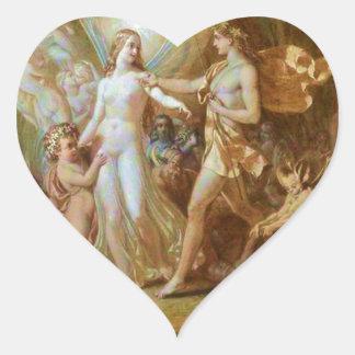 Oberon y Titania Pegatina En Forma De Corazón