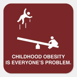 Obesidad de la niñez calcomanías cuadradas personalizadas