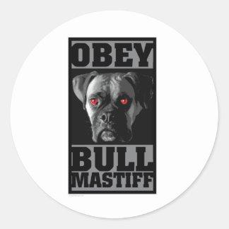 OBEY! BULLMASTIFF ROUND STICKERS