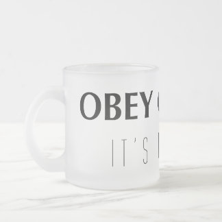 Obey gravity frosted glass coffee mug