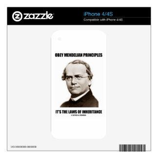 Obey Mendelian Laws Of Inheritance (Gregor Mendel) Decal For iPhone 4