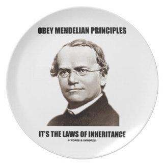 Obey Mendelian Laws Of Inheritance (Gregor Mendel) Melamine Plate