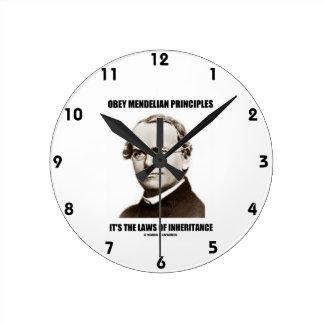 Obey Mendelian Laws Of Inheritance (Gregor Mendel) Round Wallclocks