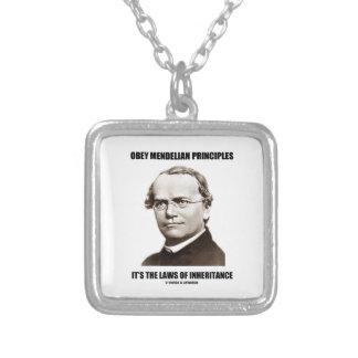 Obey Mendelian Laws Of Inheritance (Gregor Mendel) Silver Plated Necklace