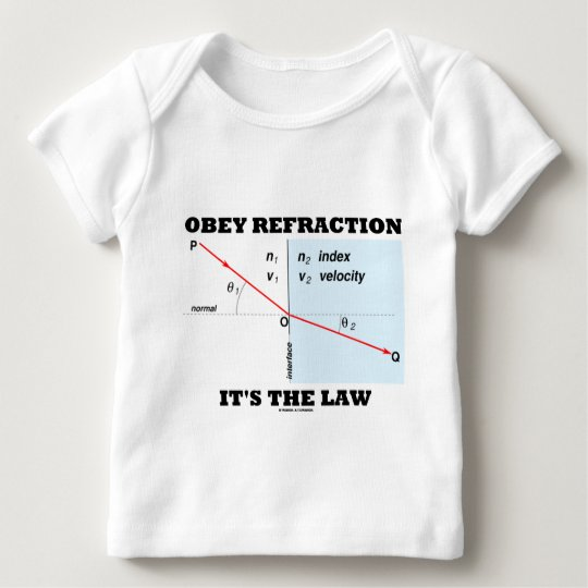 Obey Refraction It's The Law (Optics Snell's Law) Baby T-Shirt