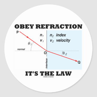 Obey Refraction It's The Law (Optics Snell's Law) Classic Round Sticker