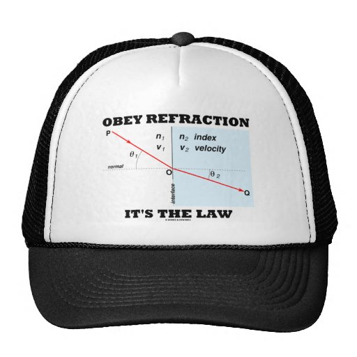 Obey Refraction It's The Law (Optics Snell's Law) Trucker Hats