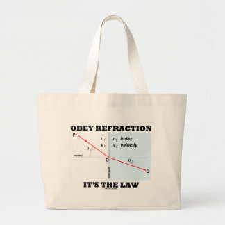 Obey Refraction It's The Law (Optics Snell's Law) Large Tote Bag