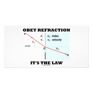 Obey Refraction It's The Law (Optics Snell's Law) Customized Photo Card