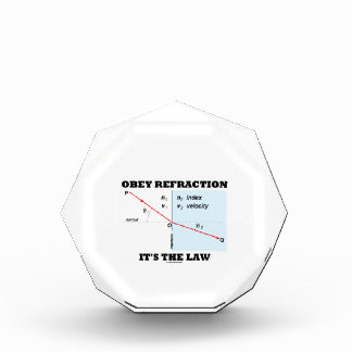 Obey Refraction It's The Law (Snell's Law Physics) Acrylic Award