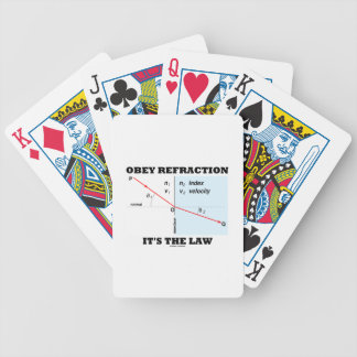 Obey Refraction It's The Law (Snell's Law Physics) Bicycle Playing Cards