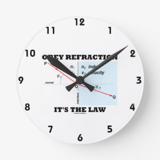 Obey Refraction It's The Law (Snell's Law Physics) Round Wall Clocks