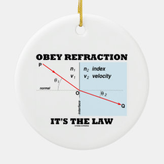 Obey Refraction It's The Law (Snell's Law Physics) Double-Sided Ceramic Round Christmas Ornament