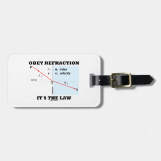 Obey Refraction It's The Law (Snell's Law Physics) Luggage Tag