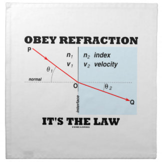 Obey Refraction It's The Law (Snell's Law Physics) Cloth Napkin