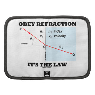Obey Refraction It's The Law (Snell's Law Physics) Folio Planners