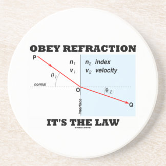 Obey Refraction It's The Law (Snell's Law Physics) Sandstone Coaster