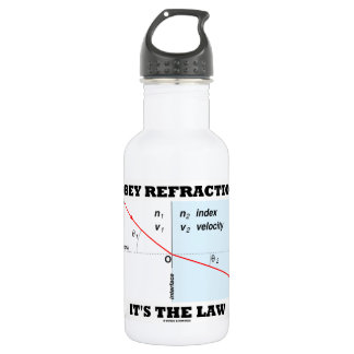 Obey Refraction It's The Law (Snell's Law Physics) Stainless Steel Water Bottle