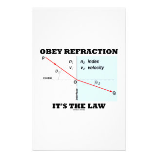 Obey Refraction It's The Law (Snell's Law Physics) Stationery Design