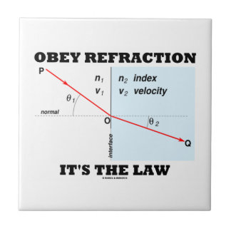 Obey Refraction It's The Law (Snell's Law Physics) Ceramic Tiles