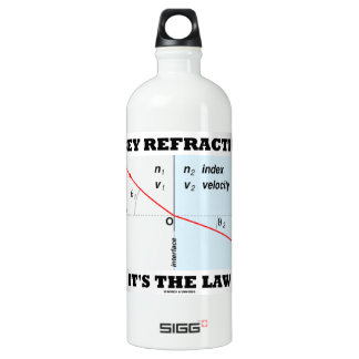Obey Refraction It's The Law (Snell's Law Physics) Water Bottle