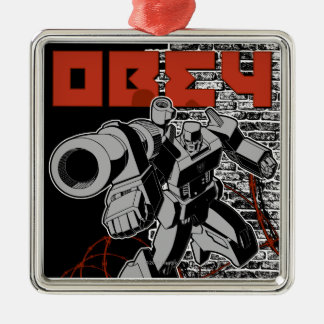 Obey Square Metal Christmas Ornament
