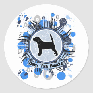 Obey The Beagle - blue Round Stickers