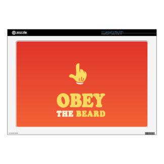 "Obey the beard! 17"" laptop skins"