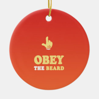 Obey the beard! Double-Sided ceramic round christmas ornament