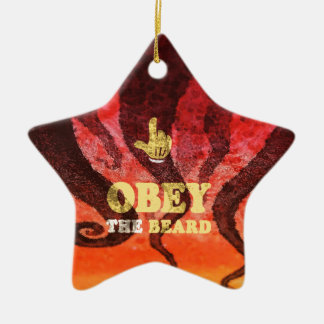 Obey the beard! Double-Sided star ceramic christmas ornament