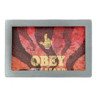Obey the beard! rectangular belt buckle